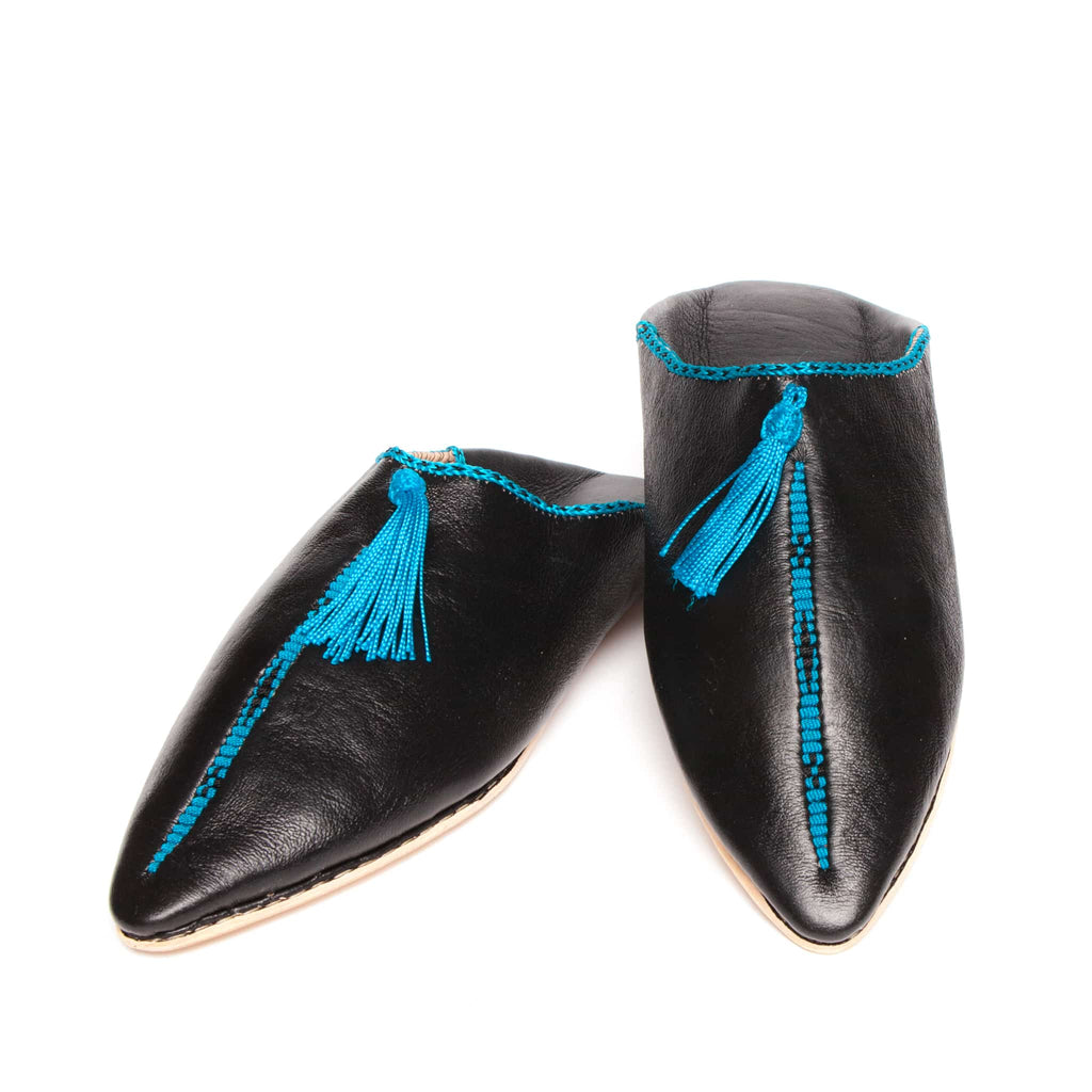 black and turquoise hard sole abury leather babouche leather slippers
