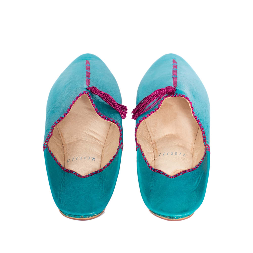 back view turquoise abury leather babouche leather slippers