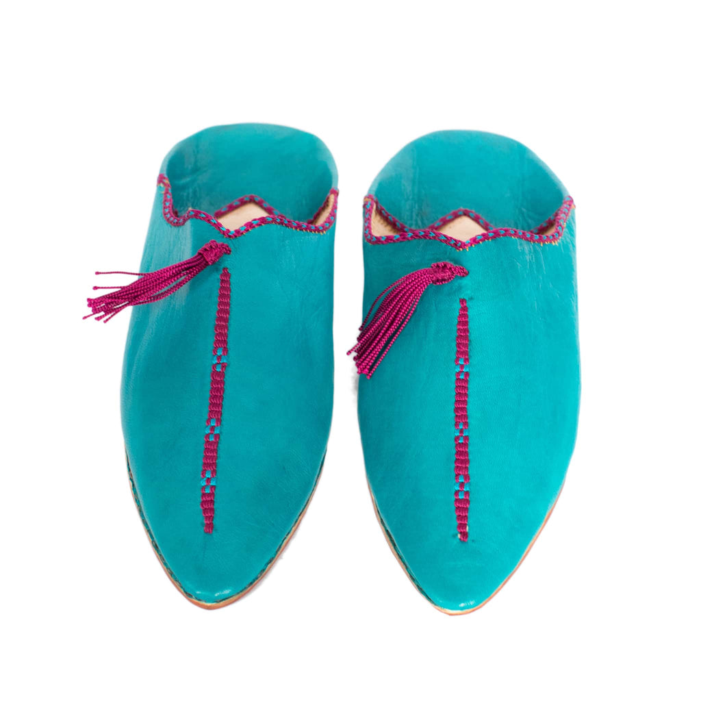 front view turquoise abury leather babouche leather slippers