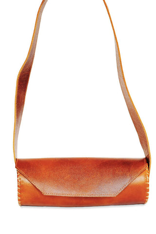 Rehana Camel Leather Clutch Bag