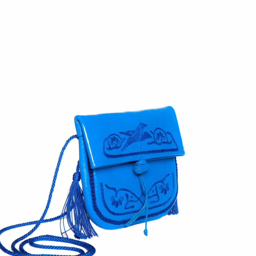 side view handmade embroidered blue abury mini berber bag
