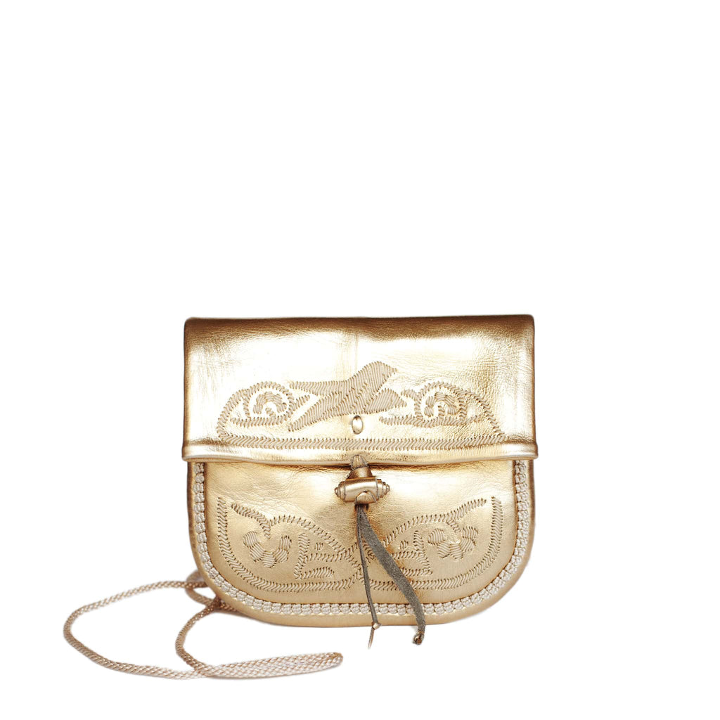 front view of gold embroidered ABURY Leather Mini Berber Shoulder Bag