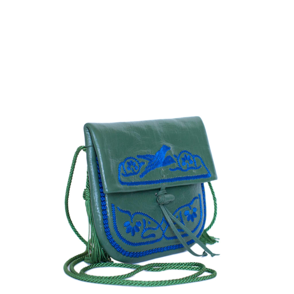 side view Handmade ABURY GREEN AND BLUE LEATHER MINI BERBER BAG