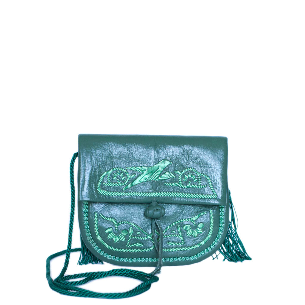 front view handmade green leather abury mini berber bag