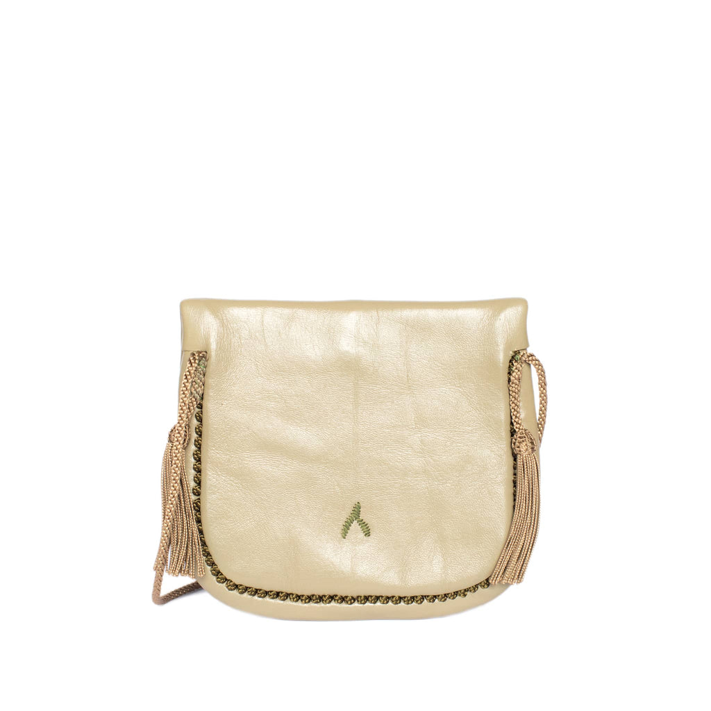 back view handmade ABURY KHAKI LEATHER MINI BERBER BAG