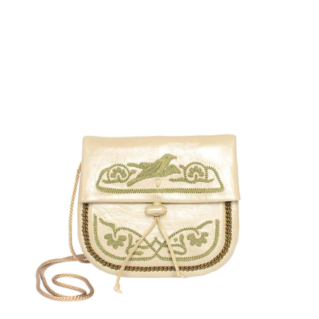 front view handmade ABURY KHAKI LEATHER MINI BERBER BAG