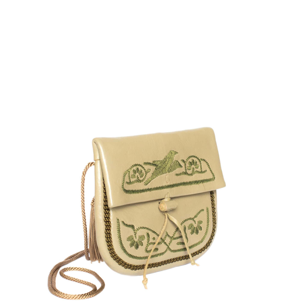 side view handmade ABURY KHAKI LEATHER MINI BERBER BAG