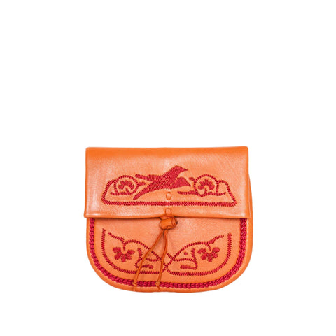 Orange and Dark Red Leather Clutch Bag