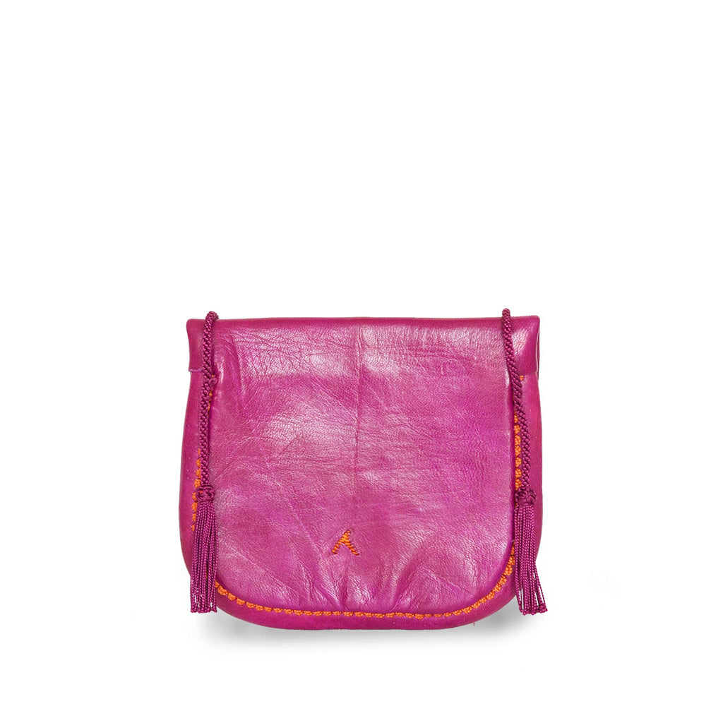back view of pink and orange embroidered ABURY Leather Mini Berber Shoulder Bag