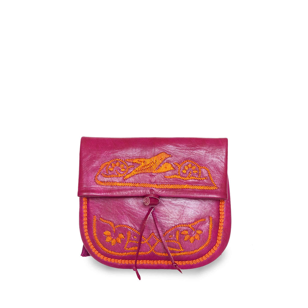 front view of pink and orange embroidered ABURY Leather Mini Berber Shoulder Bag