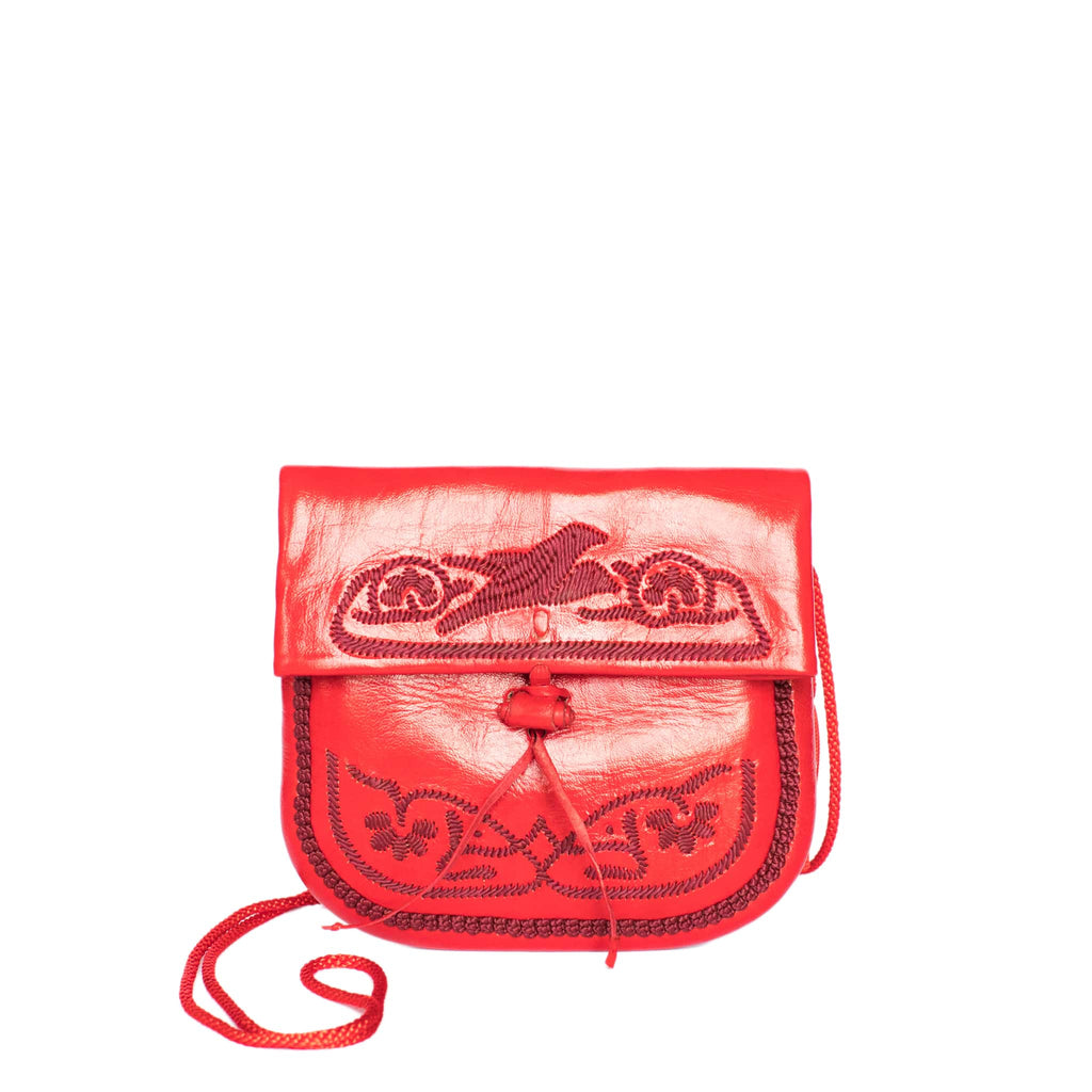 front view of handmade ABURY RED LEATHER MINI BERBER BAG