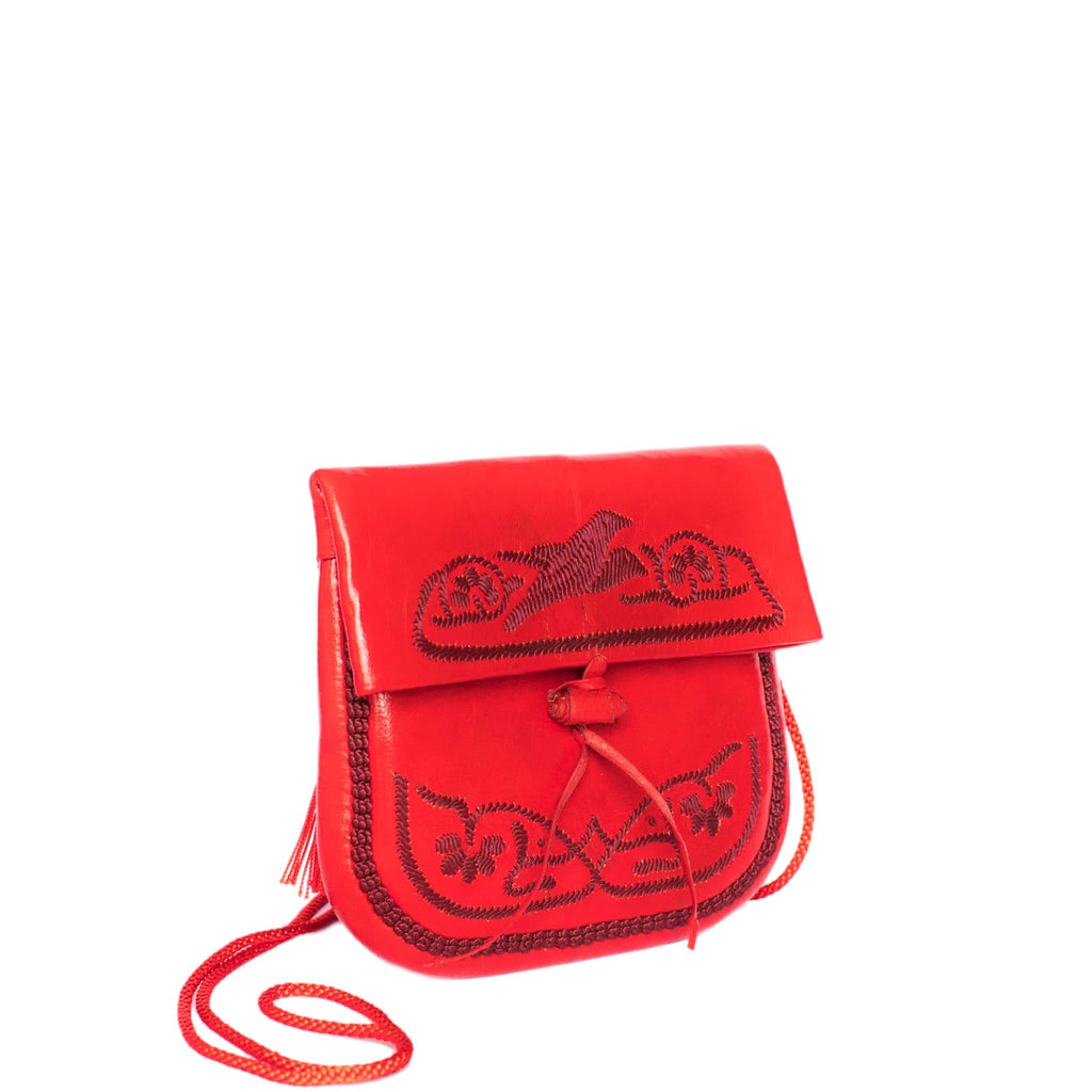 Red Leather Mini Berber Bag