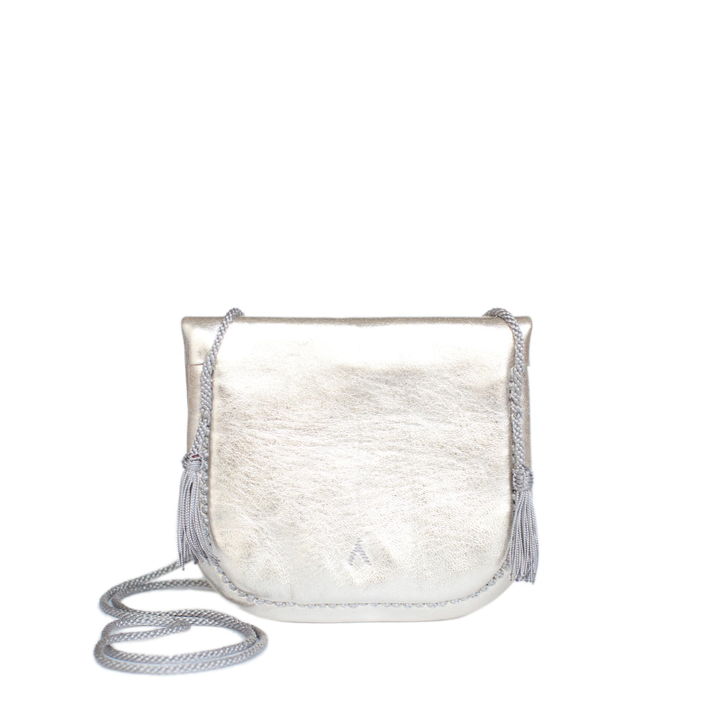 back view of silver embroidered ABURY Leather Mini Berber Shoulder Bag