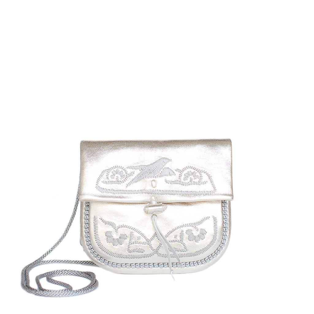 front view of silver embroidered ABURY Leather Mini Berber Shoulder Bag
