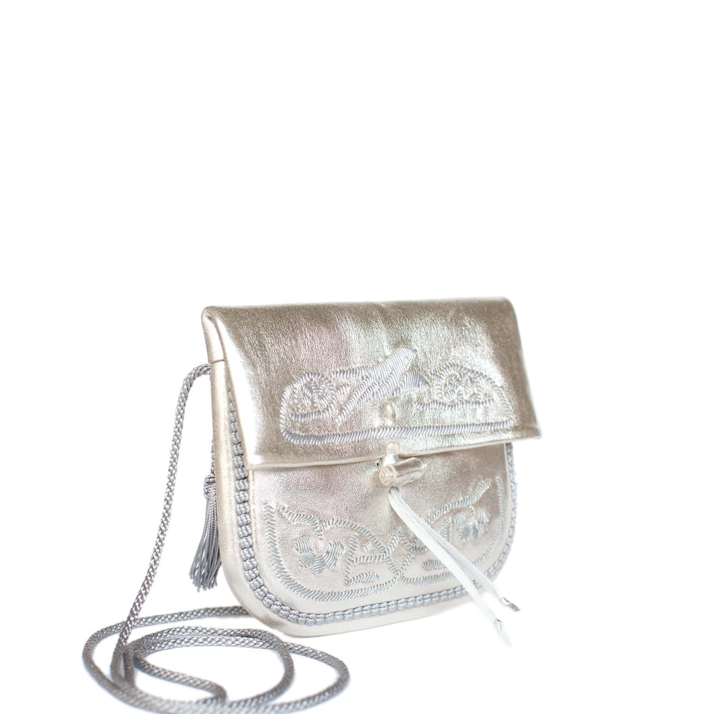 side view of silver embroidered ABURY Leather Mini Berber Shoulder Bag