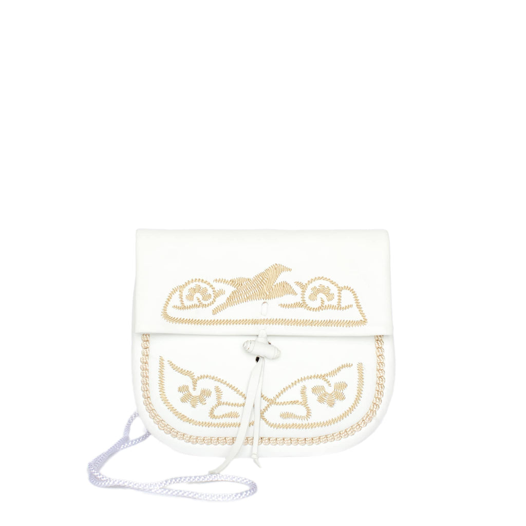 front view of white and beige embroidered ABURY Leather Mini Berber Shoulder Bag