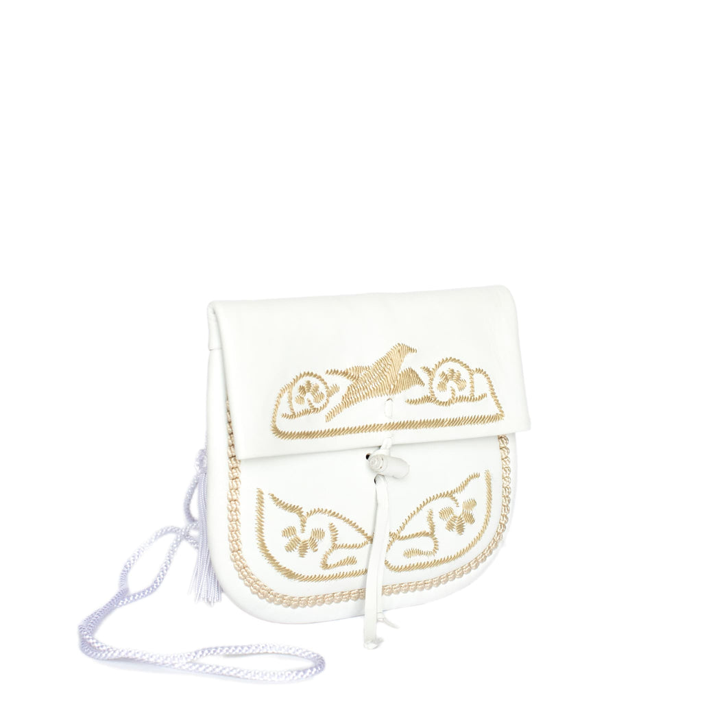 White and Beige Leather Mini Berber Bag