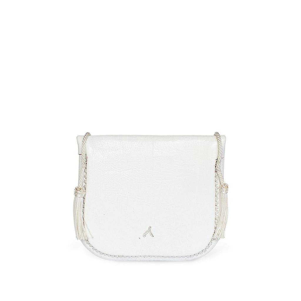 back view of eco friendly white embroidered ABURY Leather Mini Berber Shoulder Bag