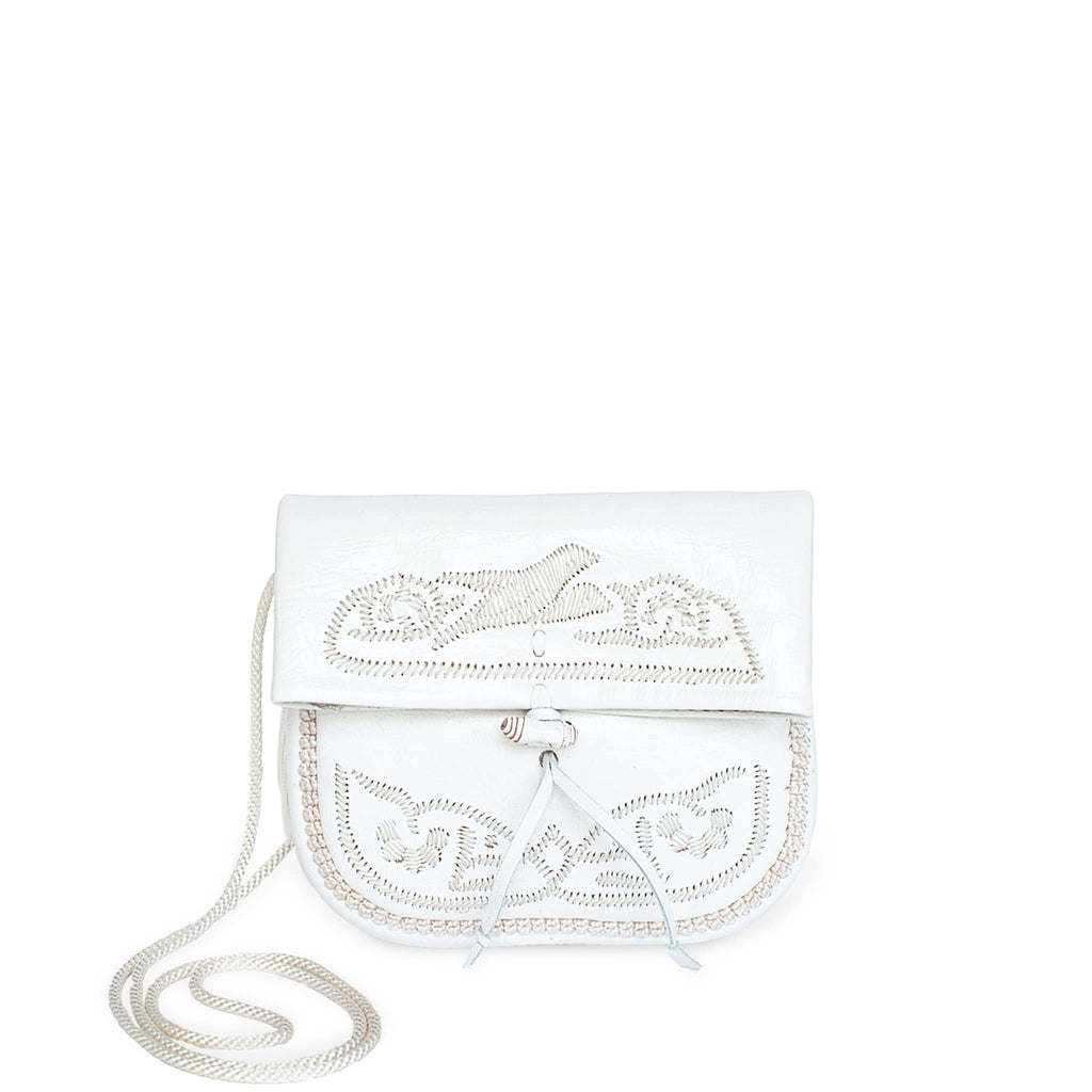 front view of white embroidered ABURY Leather Mini Berber Shoulder Bag