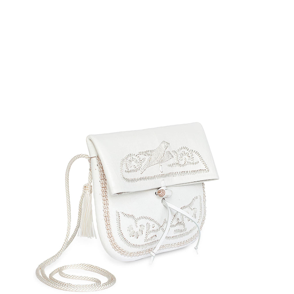 side view of handmade white embroidered ABURY Leather Mini Berber Shoulder Bag