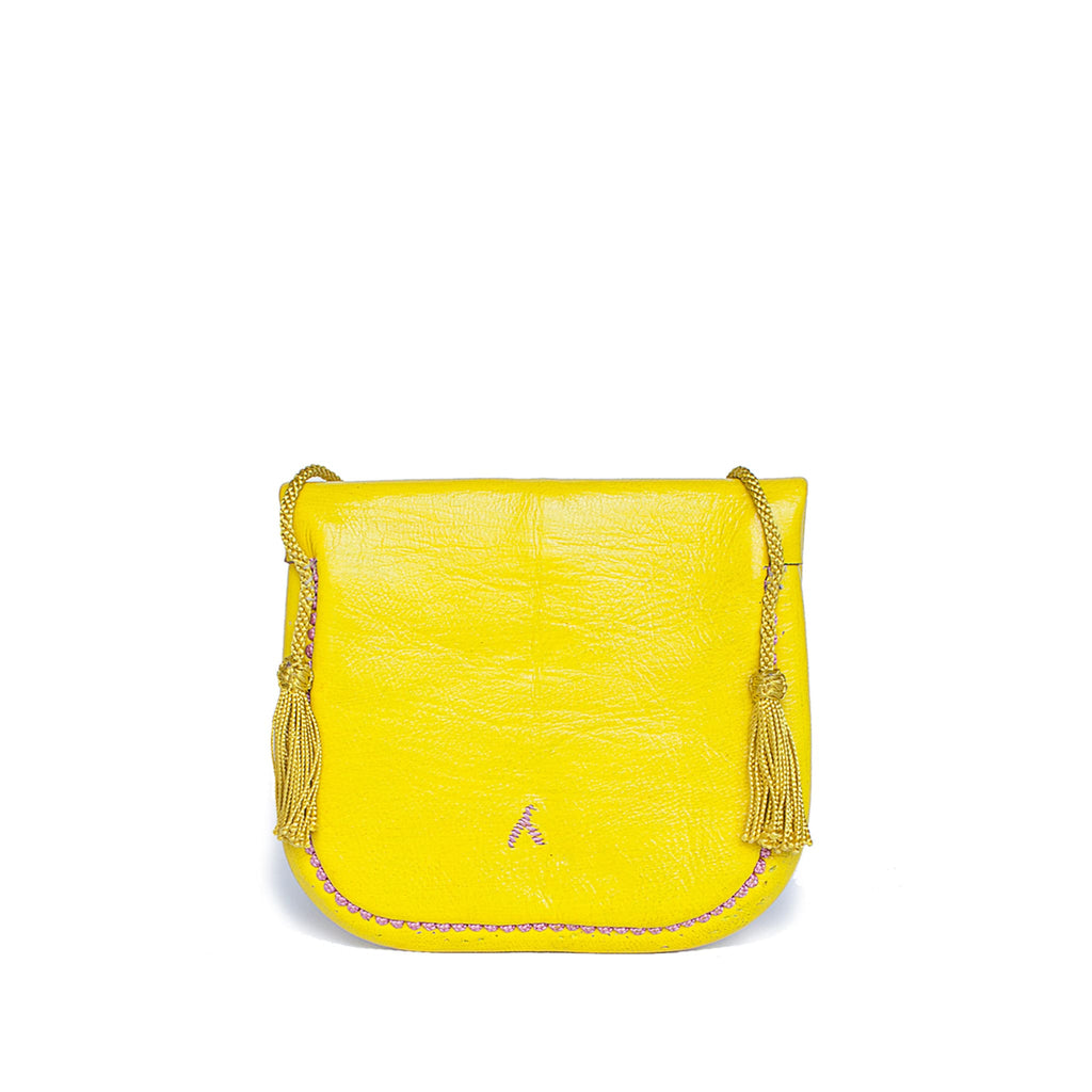 back view of yellow and rosé embroidered ABURY Leather Mini Berber Shoulder Bag