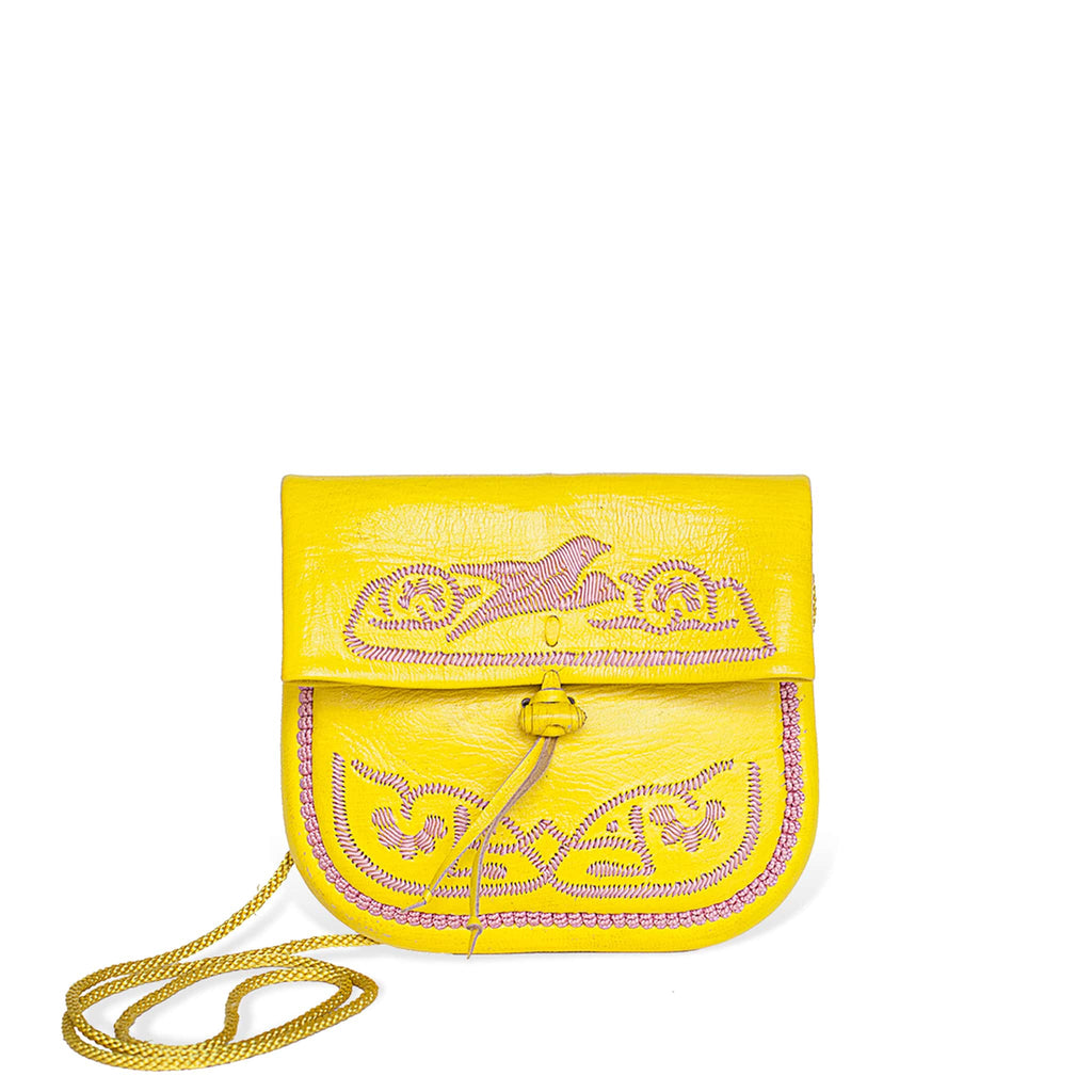 front view of yellow and rosé embroidered ABURY Leather Mini Berber Shoulder Bag
