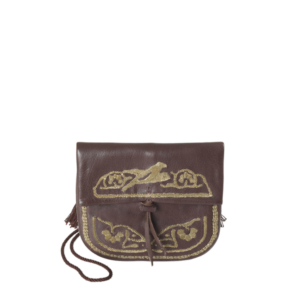 Embroidered Mini Crossbody Bag in Brown, Beige