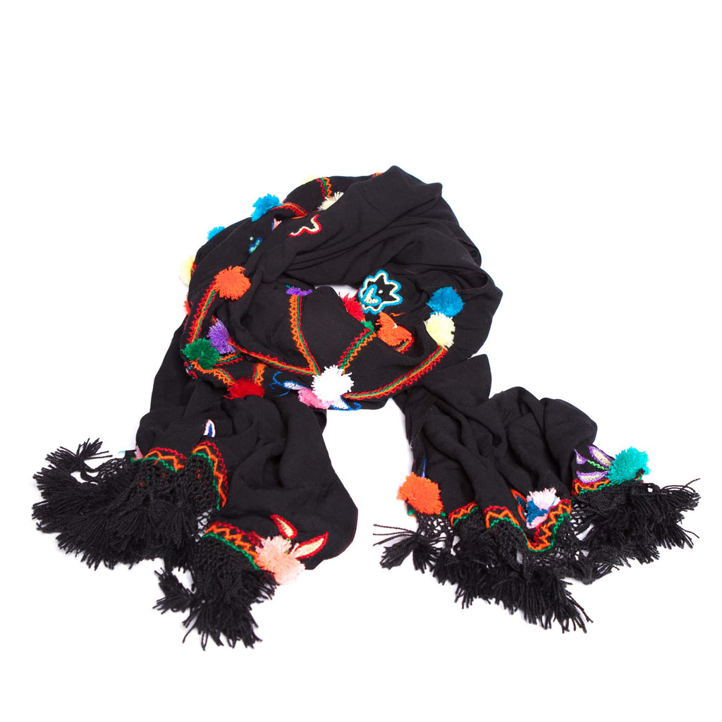 Colourful Eco-Friendly Moroccan Pompom Scarf
