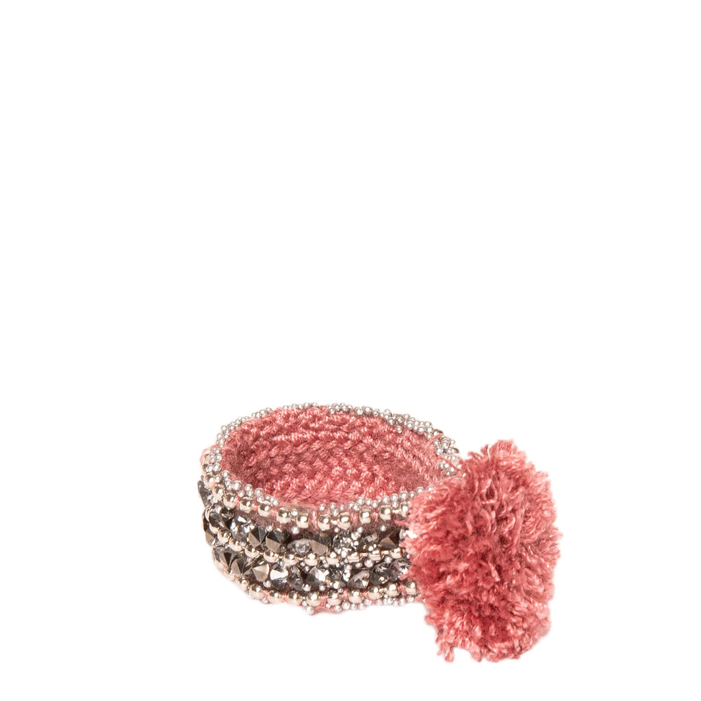 Rosé Woven Strass Ring with Pom Pom