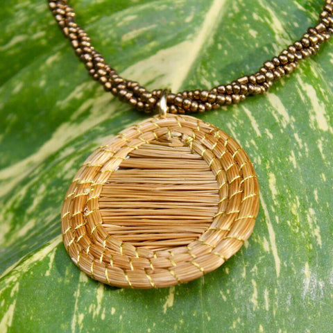 Small Oval Pendant Necklace in Gold, White