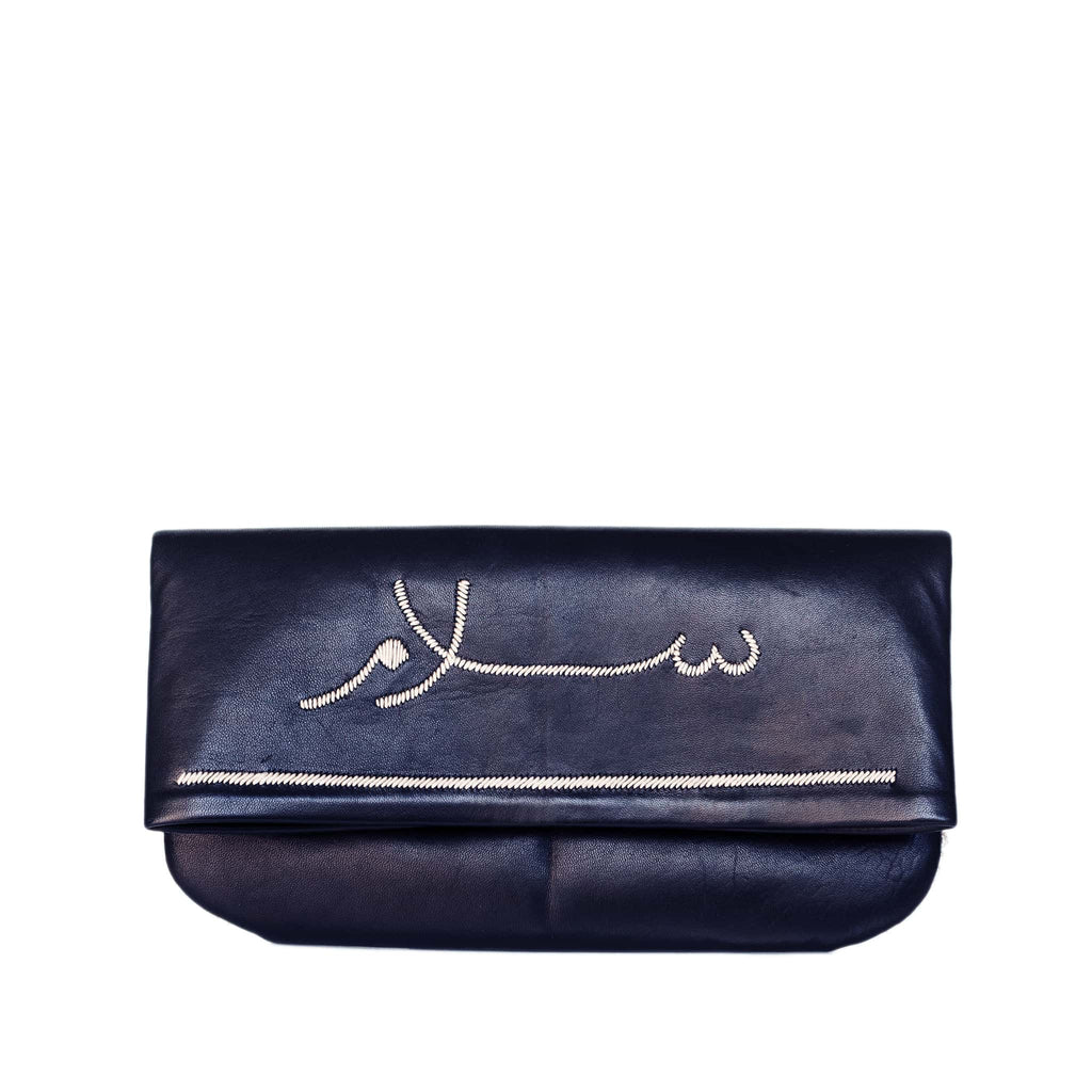 front view black abury salam clutch bag