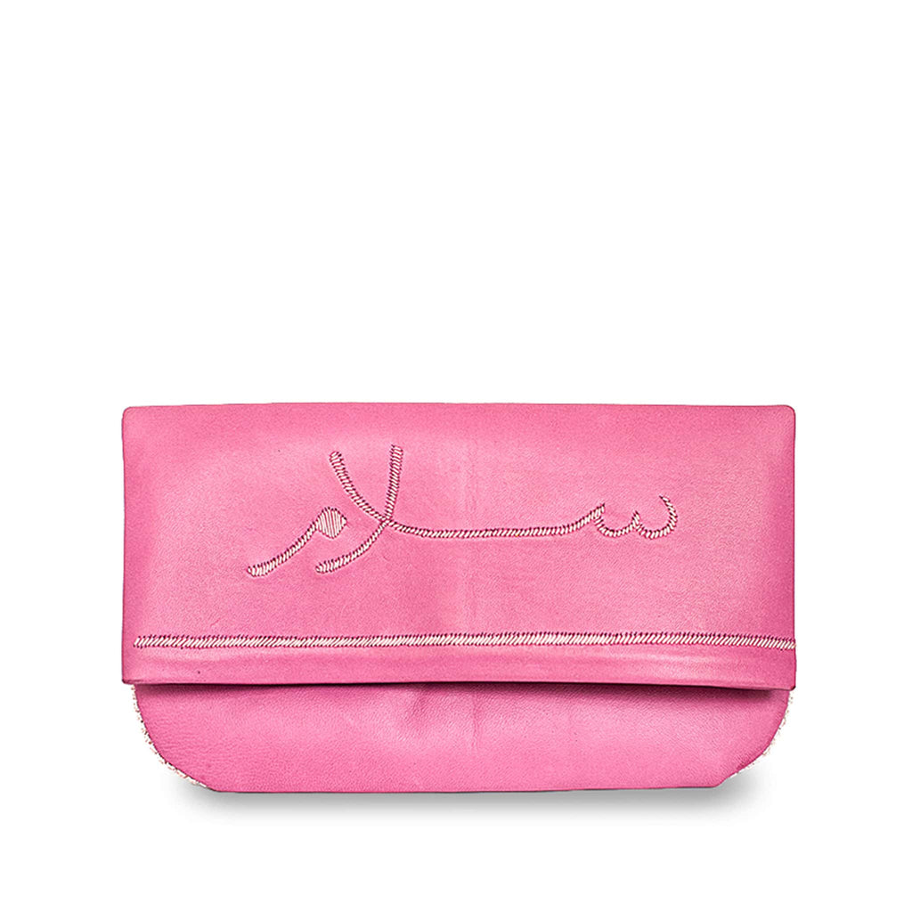 Salam Pink Leather Peace Clutch Bag