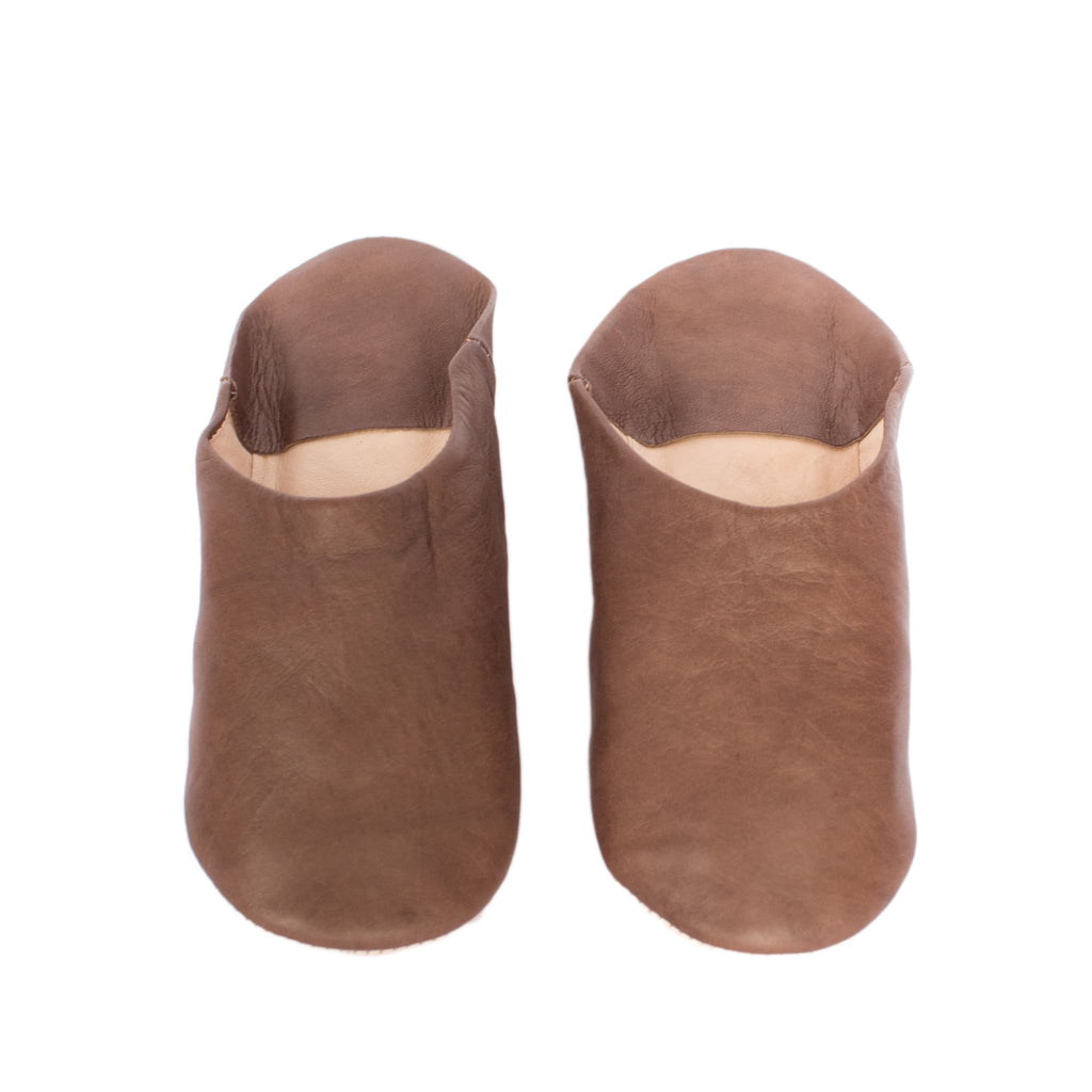 Brown Round Babouche Leather Slippers