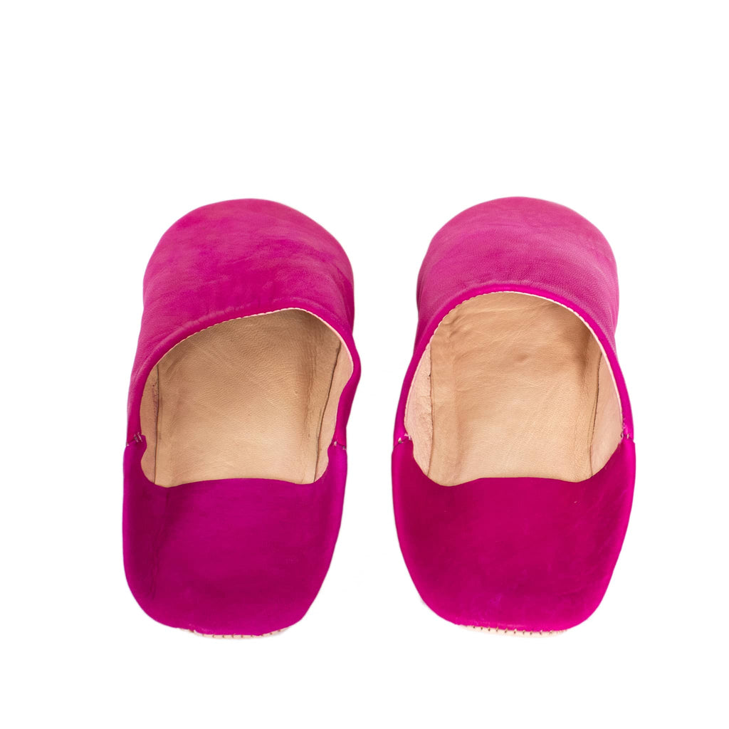 Pink Round Babouche Leather Slippers