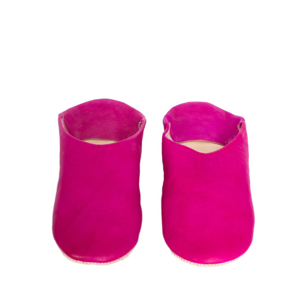 front side pink round abury leather babouche leather slippers