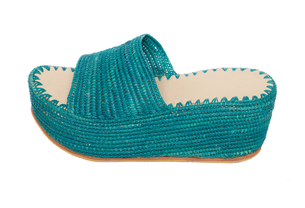 Raffia Slippers with Plateau in Turquoise