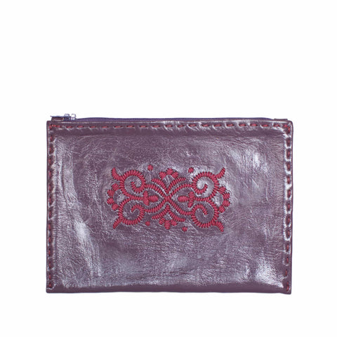 Embroidered Leather Pouch in Dark Blue, Pink
