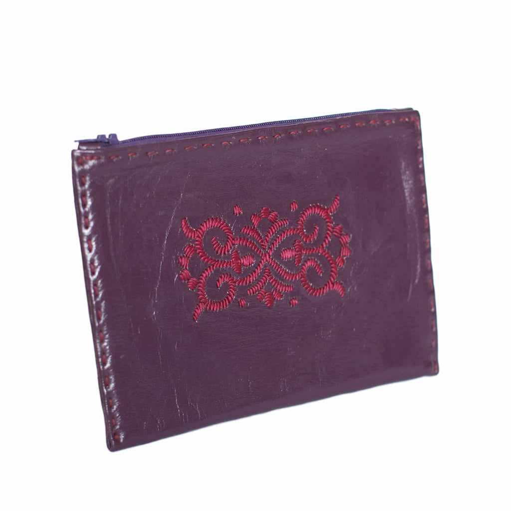 Mauve Embroidered Leather Pouch - handmade pink and purple colour wallet