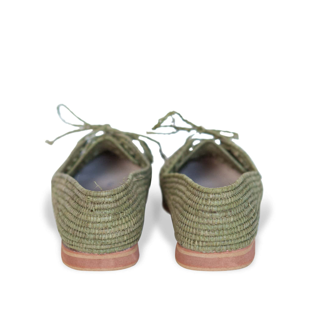 back side abury kale green raffia summer shoes with tassel