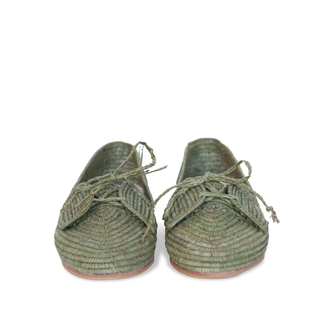 front side abury kale green raffia summer shoes with tassel