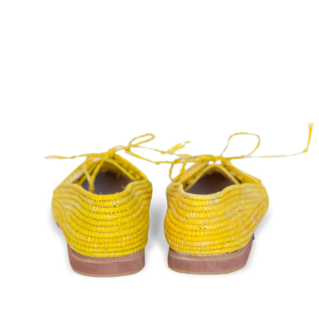 back side abury yellow raffia summer shoes with tassel
