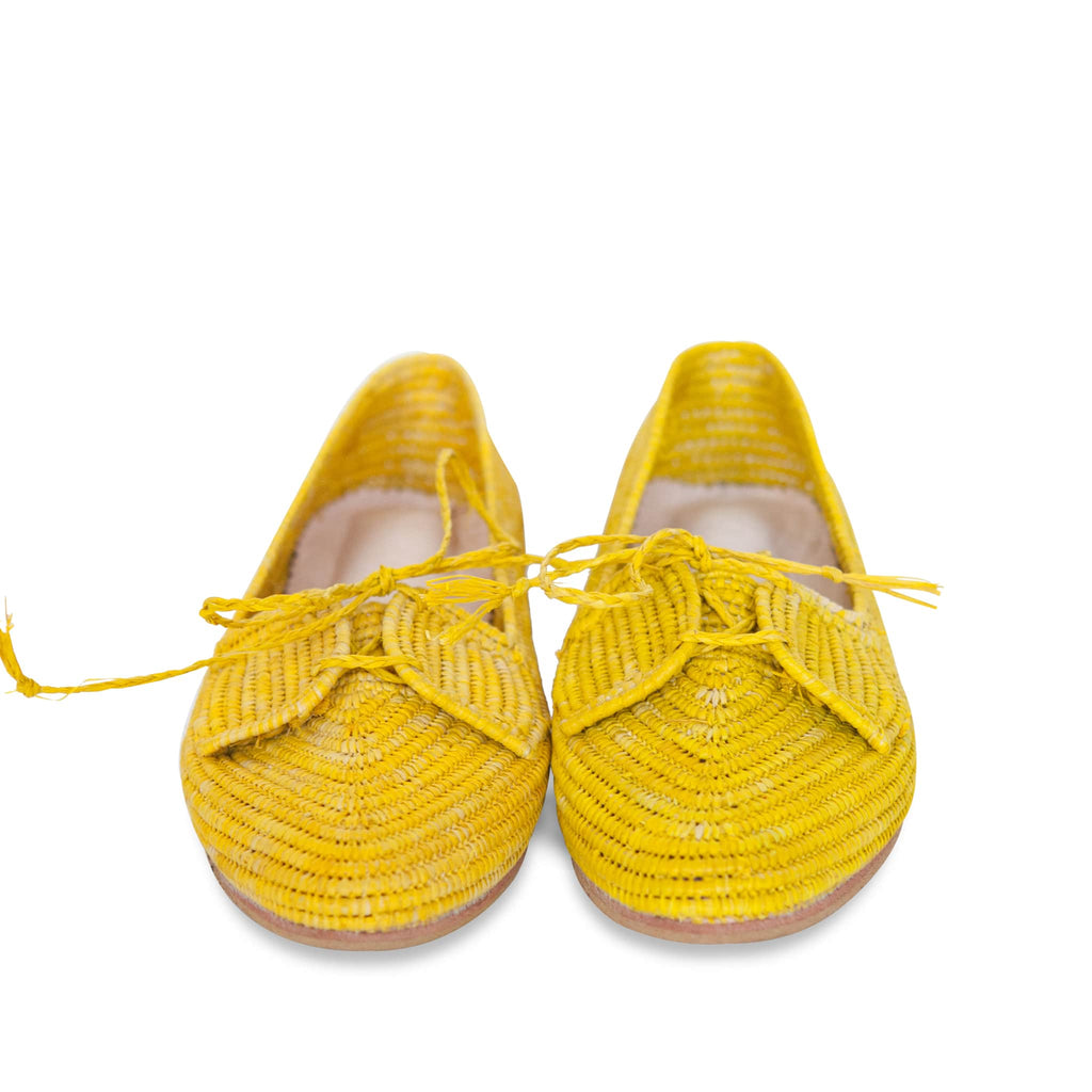 front side abury yellow raffia summer shoes with tassel