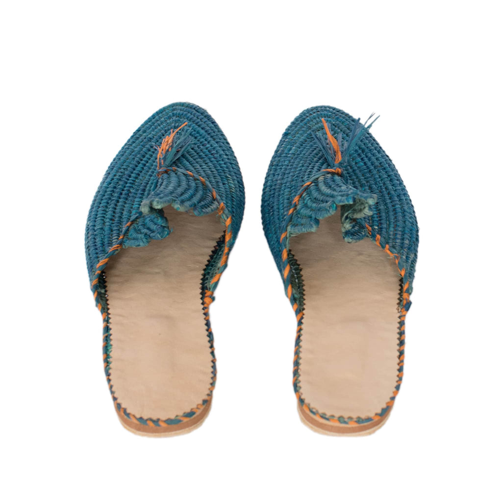 back side abury blue raffia summer slippers with tassel