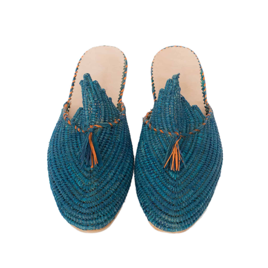 front side handmade abury blue raffia summer slippers with tassel