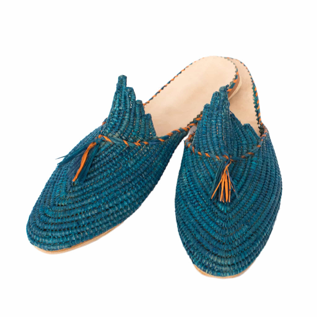front side abury blue raffia summer slippers with tassel