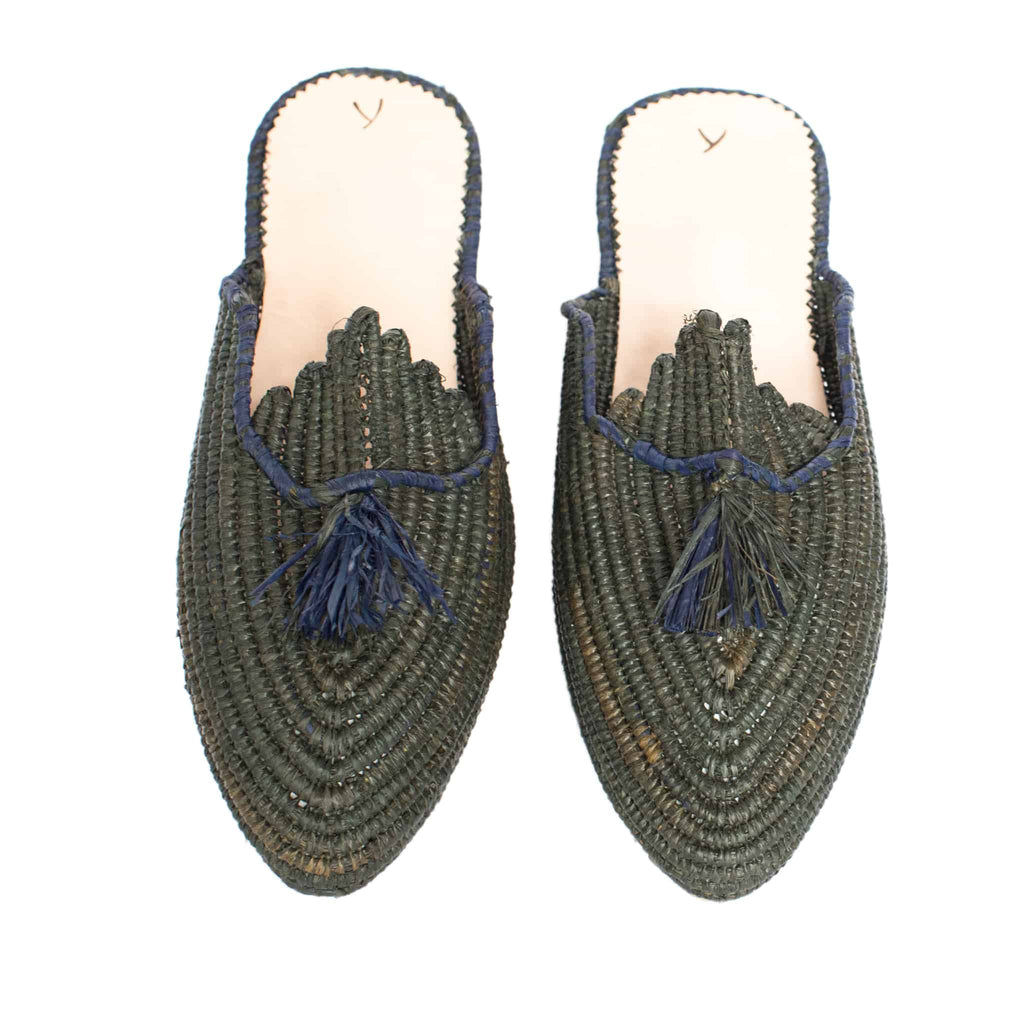 front side handmade abury dark green raffia summer slippers with tassel