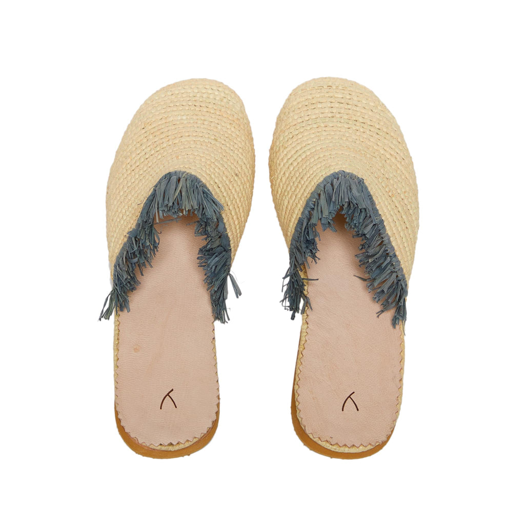 back side abury beige raffia summer slippers with fringes