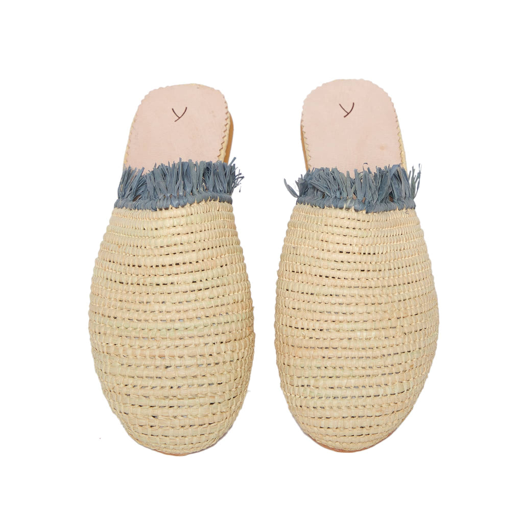 front side abury beige raffia summer slippers with fringes