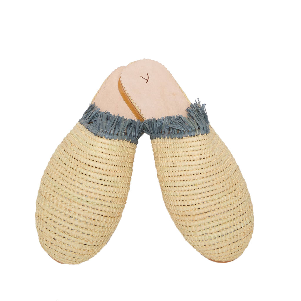 side view abury beige raffia summer slippers with fringes