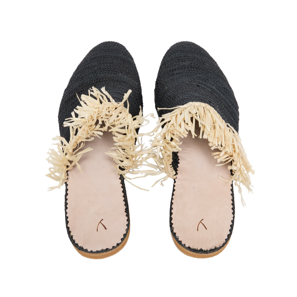 back side abury black raffia summer slippers with fringes